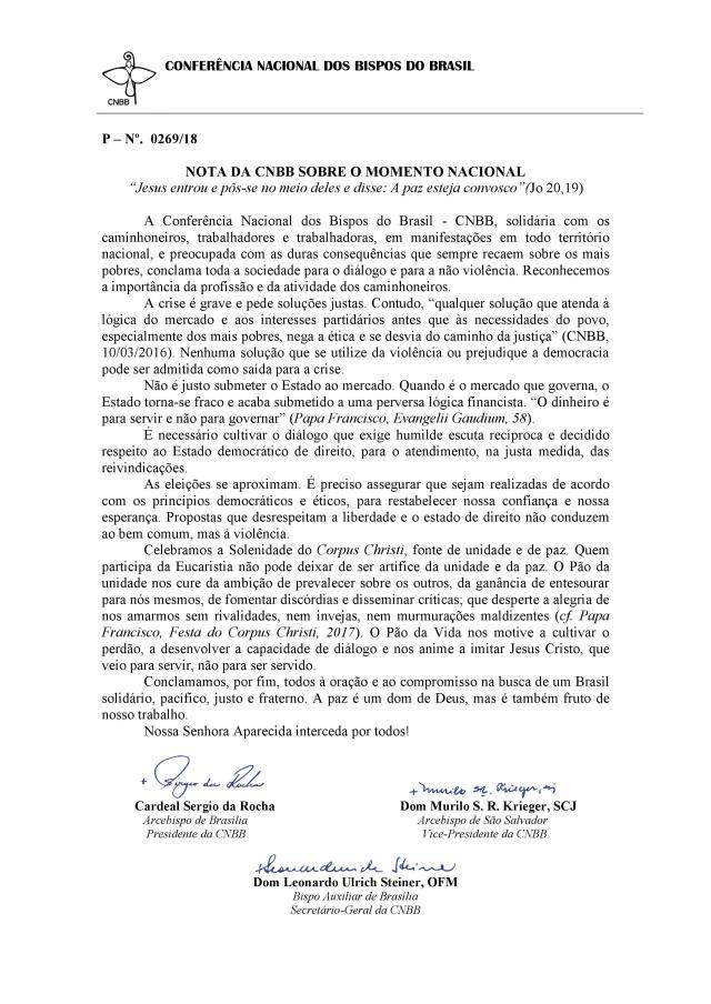 NOTA DA CNBB SOBRE O MOMENTO NACIONAL