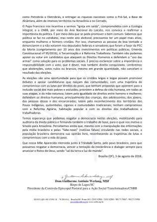 Carta do Fórum das Pastorais Sociais-2