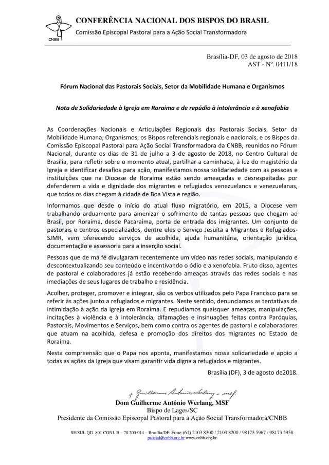 Nota de Solidariedade à Igreja de Roraima-1