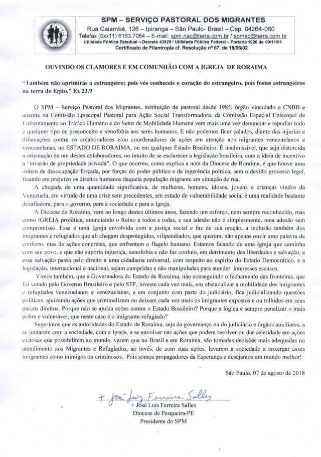 Nota do Serviço Pastoral dos MIgrantes em Solidariedade à Igreja em Roraima e de repudio a qualquer tipo de preconceito e xenofobia aos seres humanos